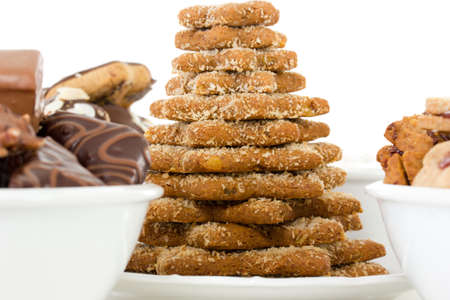 titbits: Dishes filled with fresh baked christmas cookies Stock Photo