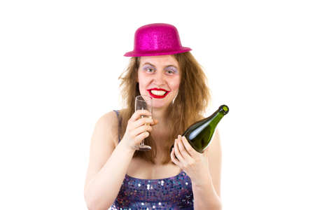 Young woman drinking too much alcohol at the party photo