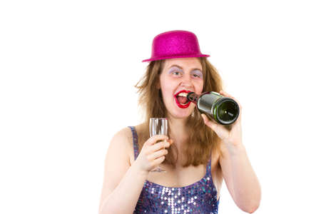 Beautiful partygirl drinking too much alcohol photo