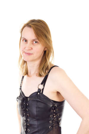 Fashionable rocker babe wearing leather top