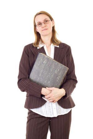 important: Businesswoman holding ring binder with important documents