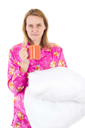 grouch: Tired woman needs coffee in the morning