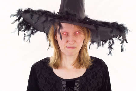 'dark ages': Bad witch of Dark Ages with evil eyes Stock Photo