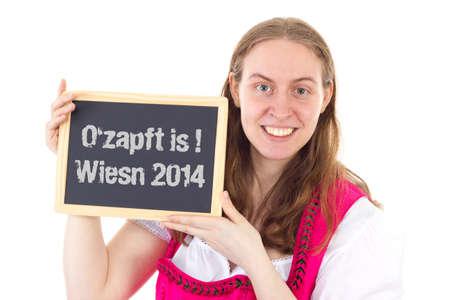 wiesn: Pretty woman shows board   O zapft is   Wiesn 2014