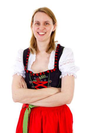 anticiparse: Sonriente mujer de anticipar la pr�xima temporada oktoberfest Foto de archivo