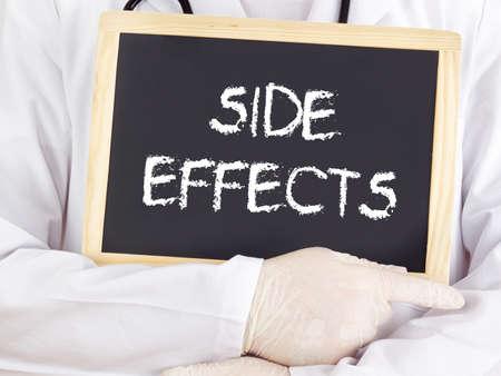 adverse reaction: Doctor shows information on blackboard: side effects