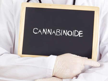cannabinoid: Doctor shows information on blackboard: cannabinoid in german Stock Photo