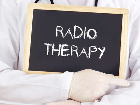 radiotherapy: Doctor shows information: radiotherapy