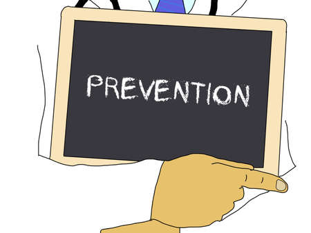 deputy: Illustration: Doctor shows information: prevention