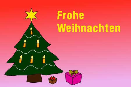 Illustration: Wishing Merry Christmas in german language Reklamní fotografie
