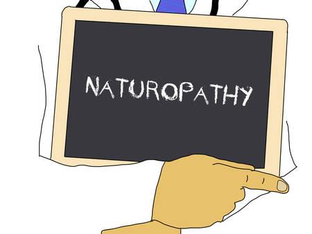 deputy: Illustration: Doctor shows information: naturopathy