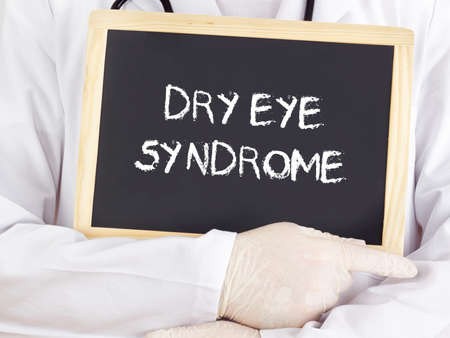 Doctor shows information: dry eye syndrome