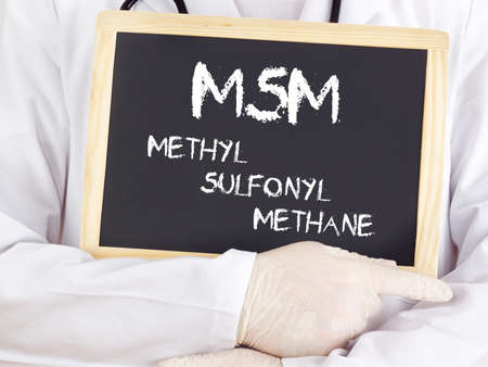 Doctor shows information: MSM methylsulfonylmethane Stock Photo