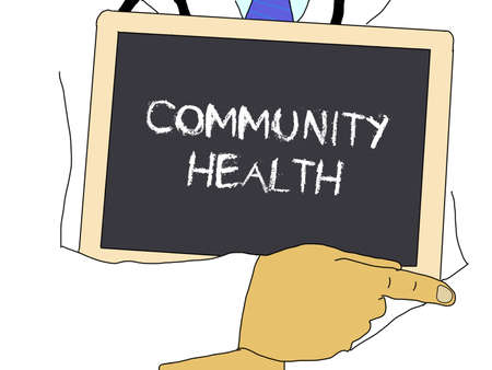 community health: Illustration: Doctor shows information: Community health