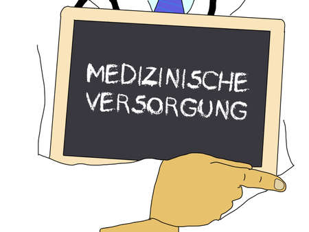 medico: Illustration: Doctor shows information: Health care in german