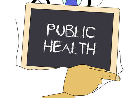 public health: Illustration: Doctor shows information: Public health Stock Photo