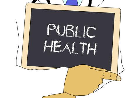 public health: Ilustraci�n: El doctor muestra informaci�n: Salud p�blica