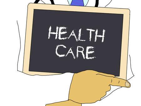 Illustration: Doctor shows information: Health care Standard-Bild