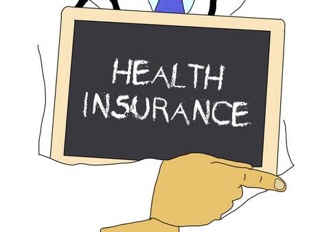 Illustration: Doctor shows information: Health insurance
