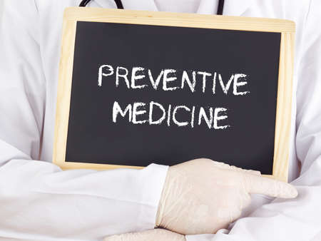 Doctor shows information: preventive medicine