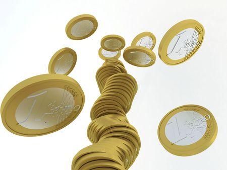 Dalende stack van een euro-muntstukken Stockfoto - 8160000