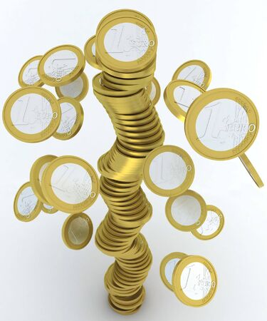 falling stack of one euro coins