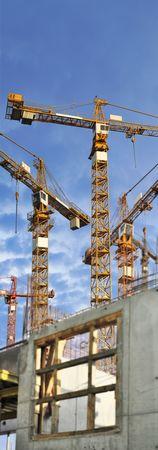 cranes on construction ground