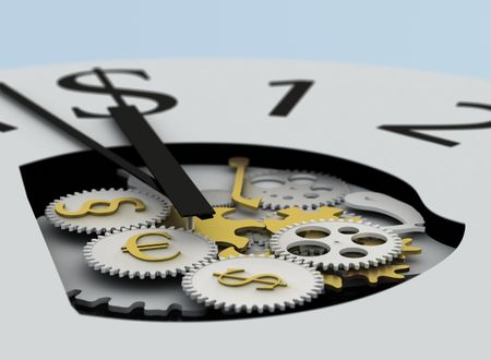 money clock with mechanism and paragraph, euro and dollar sign