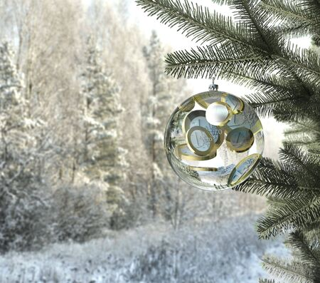 christmas profits: christmas money bauble with euro coins inside Stock Photo