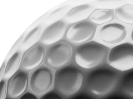 golf ball: close-up view to dimples on surface of golf ball Stock Photo
