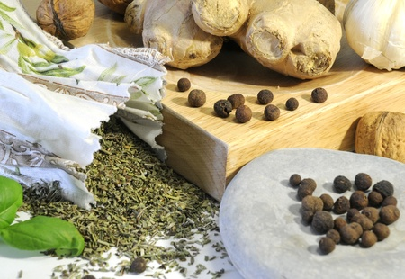 herb variation with garlic and ginger