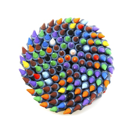 colourful wax crayons whirl Stock Photo