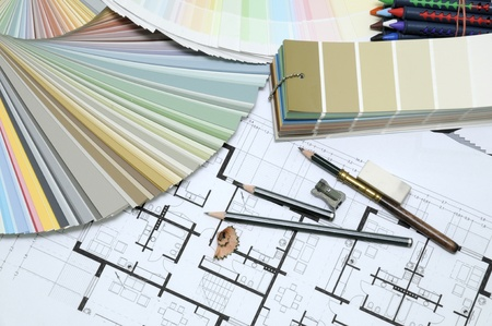 color samples on technical drawing Stockfoto