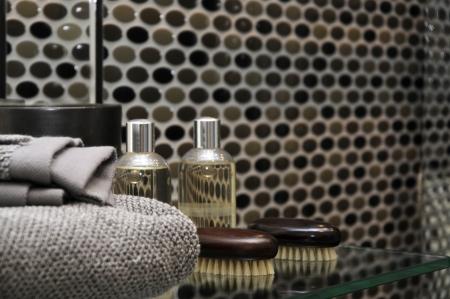 male bathroom design, dark brown and chocolate colors, men s accessories Stock Photo