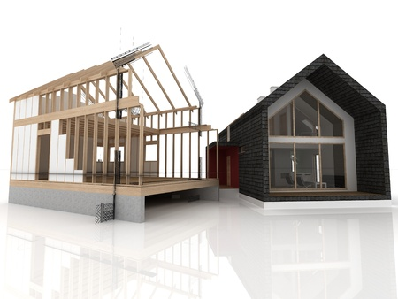 Before and after constructing wooden house