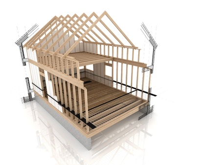 wooden house during project