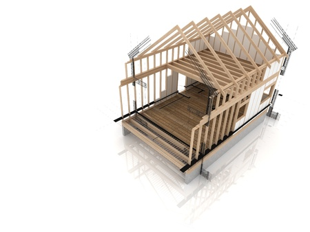 roof framework: wooden framework during project Editorial