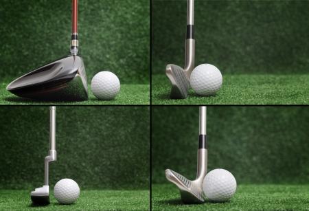 Golf club vergelijking - verschillende golfclubs Stockfoto - 16148801