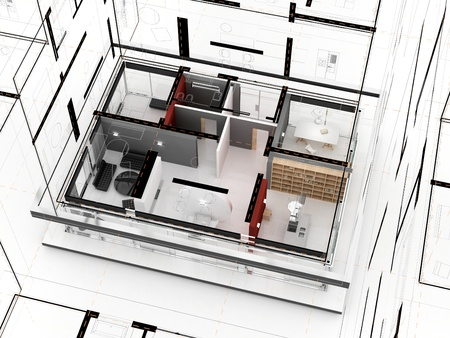 Working on house project - architects  designers drawings and model  Editorial