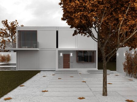 Modern house visualization, front yard view, autumn scene  Editorial