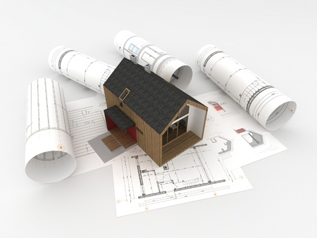 design and construction of wooden house Stock Photo
