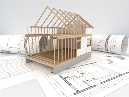 construction sites: design and construction of wooden house - architects technical drawings and design  Stock Photo