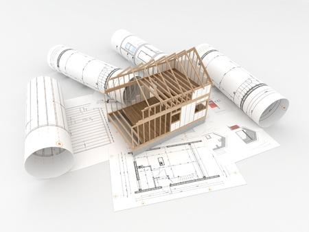 Architecten technische tekeningen en ontwerpen Stockfoto - 14771469