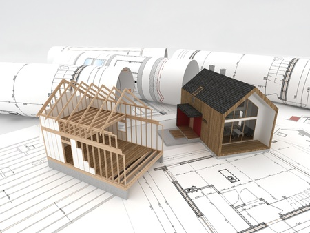substructure: design and construction of wooden house Stock Photo