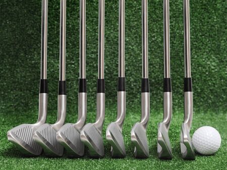 9 ball: golf iron comparison, classic blades, different head angle Stock Photo