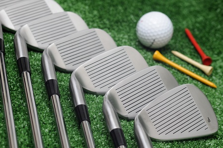 golf clubs, ball and tees photo