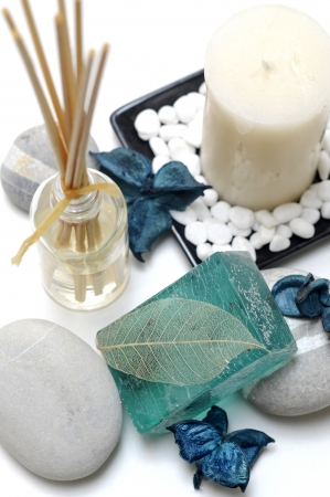scented candle: relaxing Spa decorations on white background