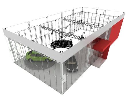 pavilion: dealer and automobile showroom pavilion. building design, architecture project  Stock Photo