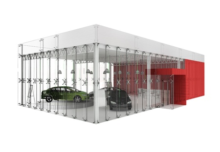 new motor vehicles: dealer and automobile showroom pavilion. building design, architecture project