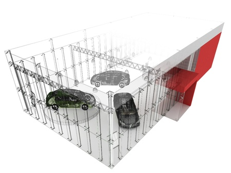 dealer and automobile showroom pavilion. building design, architecture project  Standard-Bild